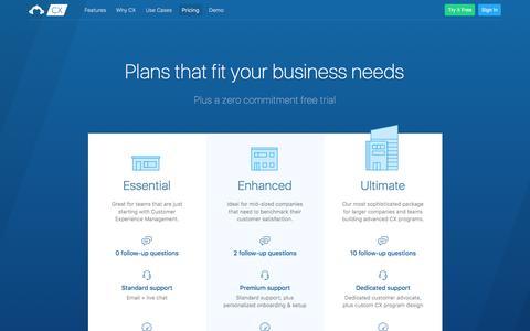 Screenshot of Pricing Page surveymonkey.com - SurveyMonkey CX - Plans & Pricing - captured Feb. 15, 2017