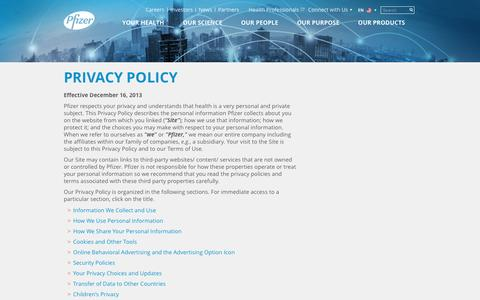 Screenshot of Privacy Page pfizer.com - Privacy Policy | Pfizer: One of the world's premier biopharmaceutical companies - captured April 27, 2017