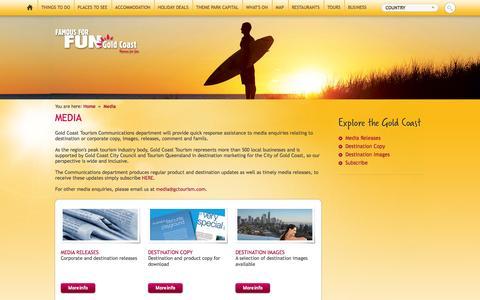 Screenshot of Press Page visitgoldcoast.com - Media - captured Sept. 22, 2014