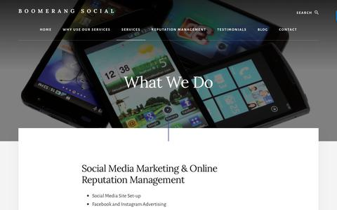 Screenshot of Services Page trianglesocialmediavirtualassistant.com - Boomerang Social - Social Media Marketing Services - captured Sept. 30, 2018
