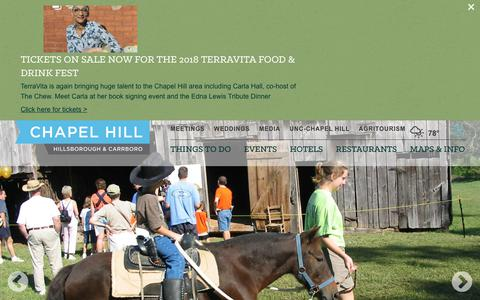 Screenshot of Home Page visitchapelhill.org - Visit Chapel Hill, NC Official Tourism Site | Hotels, Restaurants, and Things to do - captured Sept. 27, 2018