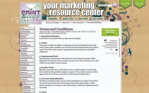 Screenshot of Terms Page printcopyfactory.com - Terms & Conditions - Print & Copy Factory | PCFWebSolutions - captured Sept. 30, 2014