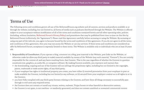 Screenshot of Terms Page reformedforum.org - Terms of Use – Reformed Forum - captured Nov. 9, 2017