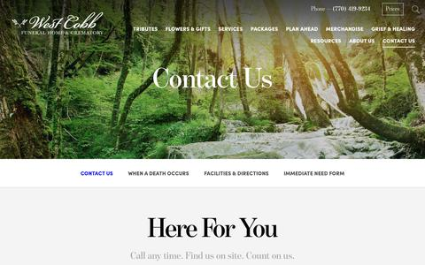 Screenshot of Contact Page westcobbfuneralhome.com - Contact Us   West Cobb Funeral Home and Crematory, Inc. - Marietta, GA - captured Dec. 15, 2016