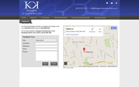 Screenshot of Contact Page hexagon-developments.co.uk - Hexagon Developments | Contact Us - captured Oct. 2, 2014