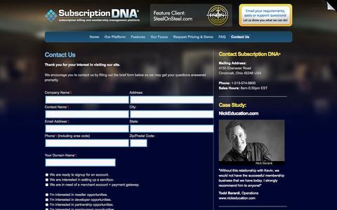 Screenshot of Contact Page subscriptiondna.com - Contact Us / Subscription DNA - captured Oct. 26, 2014