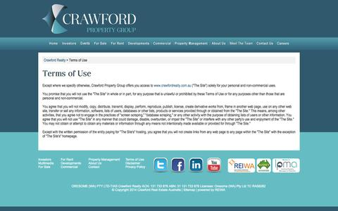 Screenshot of Terms Page crawfordrealty.com.au - Crawford Property Group Terms of Use - captured Sept. 23, 2014