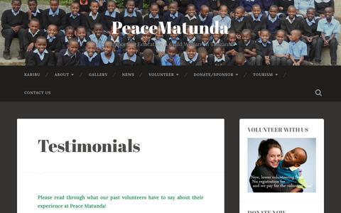 Screenshot of Testimonials Page peacematunda.org - Testimonials – PeaceMatunda - captured Sept. 27, 2018