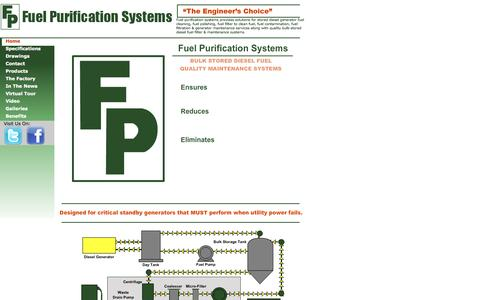 Screenshot of Home Page fuelpurification.com - Diesel Generator Fuel Cleaning, Polishing, Filtration, Fuel Contamination & Generator Maintenance - captured Oct. 6, 2014