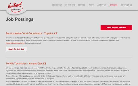Screenshot of Jobs Page vankeppel.com - Job Postings | Van Keppel Company - captured Feb. 17, 2016