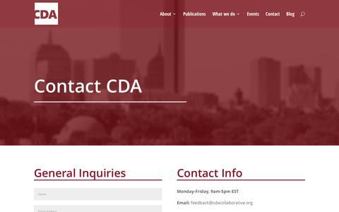 Screenshot of Contact Page cdacollaborative.org - Contact CDA - CDA - captured Oct. 5, 2016