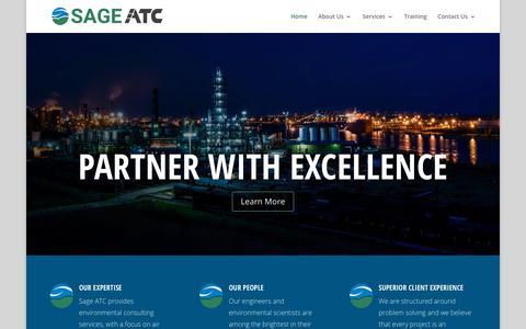 Screenshot of Home Page sageenvironmental.com - SAGE ATC | - captured Jan. 12, 2018