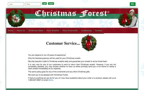 Screenshot of Support Page christmasforest.com - Christmas Wreaths Return Policy - Christmas Forest - captured July 13, 2016