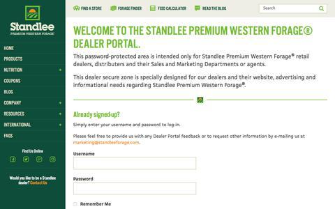 Screenshot of Login Page standleeforage.com - Dealer Portal Registration and Login   Standlee Premium Western Forage - captured Nov. 22, 2017