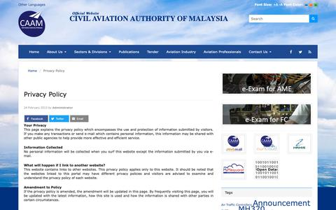 Screenshot of Privacy Page dca.gov.my - Privacy Policy | Civil Aviation Authority of Malaysia - captured Oct. 8, 2018