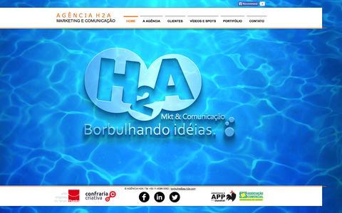 Screenshot of Home Page ag-h2a.com - Agência H2A, Agência Propaganda e Marketing, Jundiaí, São Paulo - captured Oct. 4, 2014