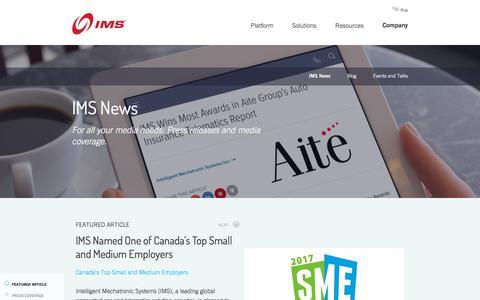 Screenshot of Press Page intellimec.com - IMS News - captured Oct. 15, 2017