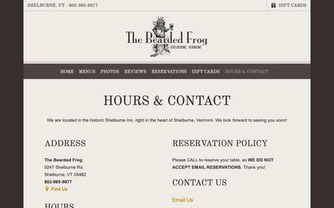 Screenshot of Hours Page thebeardedfrog.com - Hours & Contact | The Bearded Frog Bar & Grill | Shelburne, VT - captured Oct. 31, 2018