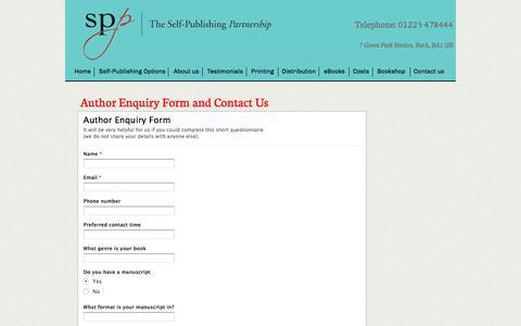Screenshot of Contact Page selfpublishingpartnership.co.uk - Contact Us Self Publishing - captured Jan. 12, 2016