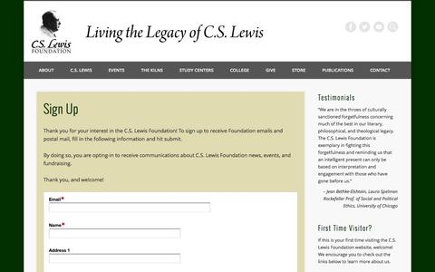 Screenshot of Signup Page cslewis.org - Sign Up - C.S. Lewis Foundation - captured Sept. 23, 2014