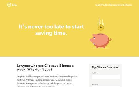Screenshot of Landing Page goclio.com - Clio Legal Practice Management Software - captured Oct. 27, 2014