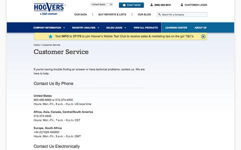 Contact us |  By Phone | Send an Email | Hoover's