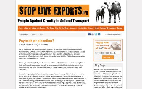 Screenshot of Press Page stopliveexports.org - Stop Live Exports | News Blog - captured April 9, 2017