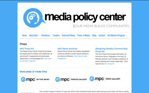 Screenshot of Press Page mediapolicycenter.org - Press - Media Policy Center - captured Oct. 27, 2014