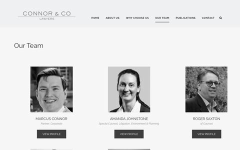 Screenshot of Team Page connorco.com.au - Our Team - Connor & Co | Legal Firm in Sydney - captured July 20, 2018