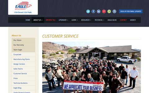 Screenshot of Support Page eagleroofing.com - Customer Service - Eagle Roofing - captured Oct. 19, 2016