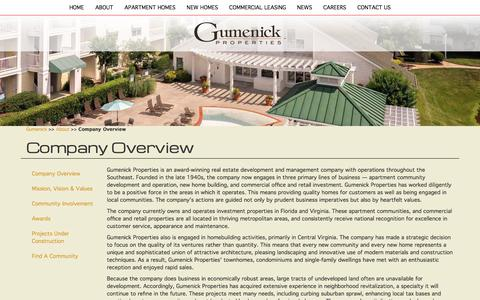 Screenshot of About Page gumenick.com - Company Overview   Gumenick Properties - captured Feb. 7, 2018