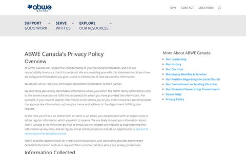 Screenshot of Privacy Page abwe.ca - Privacy Policy - ABWE Canada - captured Oct. 2, 2018
