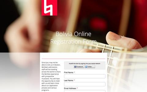 Screenshot of Landing Page berklee.edu - Berklee College of Music - captured May 21, 2016