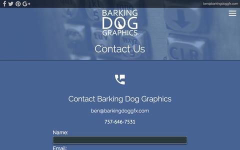 Screenshot of Contact Page barkingdoggfx.com - Contact Barking Dog Graphics in Virginia Beach - captured Oct. 10, 2017