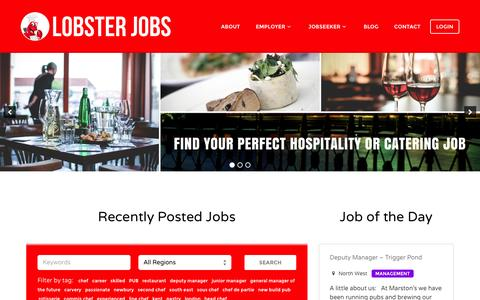 Screenshot of Home Page lobsterjobs.co.uk - Find your perfect Catering or Hospitality job - captured Dec. 12, 2015