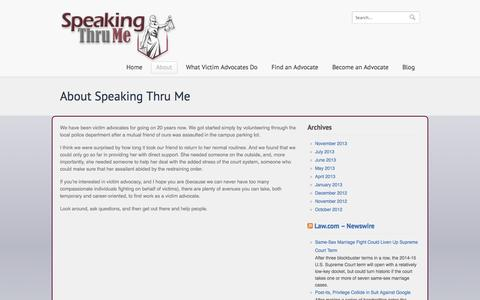 Screenshot of About Page speakingthrume.com - About Speaking Thru Me - Help victims overcome their struggles - captured Oct. 6, 2014