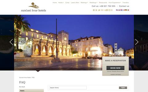 Screenshot of FAQ Page suncanihvar.com - FAQ | Suncani Hvar Hotels - captured Sept. 23, 2014