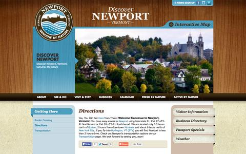 Screenshot of Maps & Directions Page discovernewportvt.com - Newport Vermont Directions | Discover Newport - captured Oct. 26, 2014