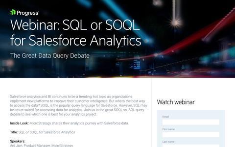 Screenshot of Landing Page progress.com - On-Demand Webinar   SQL or SOQL for Salesforce Analytics - captured July 17, 2019