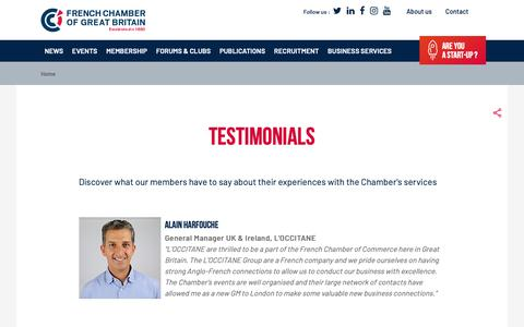 Screenshot of Testimonials Page ccfgb.co.uk - Testimonials | The Official French Chamber of Commerce in Great Britain - captured Oct. 11, 2018