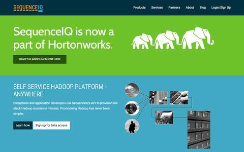 Screenshot of Home Page sequenceiq.com - SequenceIQ - captured Dec. 19, 2015