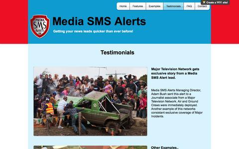 Screenshot of Testimonials Page mediasmsalerts.com - Media SMS Alerts | Testimonials - captured June 10, 2017