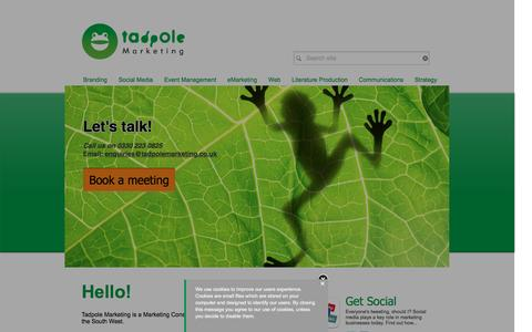 Screenshot of Home Page tadpolemarketing.co.uk - Tadpole Marketing Consultancy - captured Jan. 12, 2016