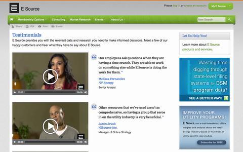 Screenshot of Testimonials Page esource.com - Testimonials   E Source - captured Sept. 26, 2014