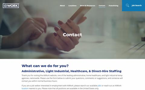 Screenshot of Contact Page atwork.com - Contact AtWork Group | AtWork - captured Aug. 20, 2018