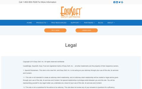 Screenshot of Terms Page easysoft-usa.com - Legal | Easy Soft - captured Jan. 25, 2016