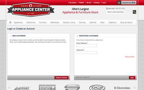 Screenshot of Login Page appliancecenterdirect.com - Customer Login - captured Oct. 4, 2014
