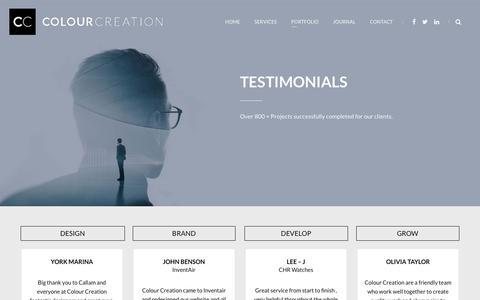 Screenshot of Testimonials Page colourcreation.co.uk - Testimonials | Colour Creation - captured Jan. 10, 2018
