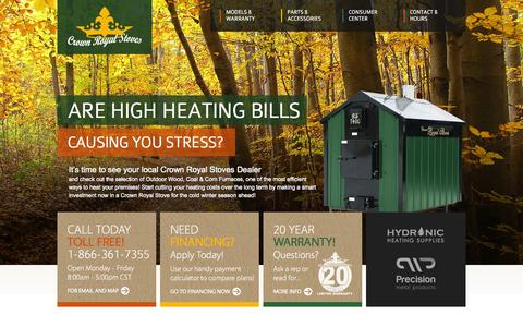 Screenshot of Home Page crownroyalstoves.com - Outdoor Wood Furnaces - Crown Royal Stoves - Outdoor Wood Burning Stoves - Outdoor Coal Stoves - captured Oct. 9, 2015