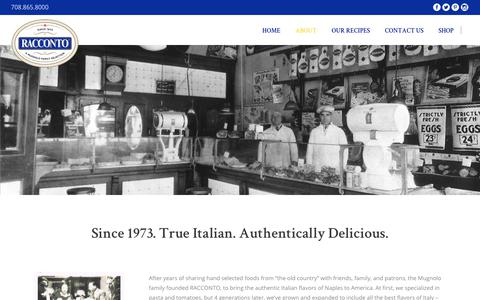 Screenshot of About Page racconto.com - ABOUT – Racconto Italian Foods - captured Nov. 18, 2018